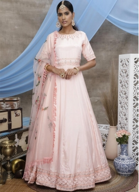 Satin Silk Floor Length Anarkali Suit For Festival