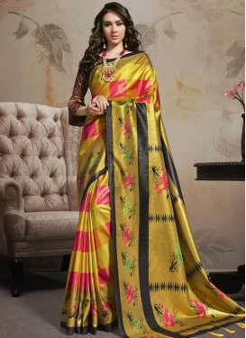 Satin Silk Gold and Rose Pink Abstract Print Work Classic Saree