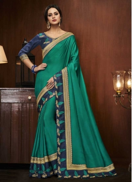 Satin Silk Green and Navy Blue Embroidered Work Designer Contemporary Saree