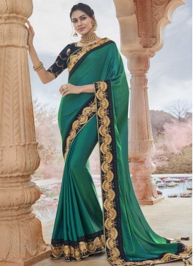 Satin Silk Green and Navy Blue Embroidered Work Traditional Designer Saree