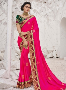 Satin Silk Green and Rose Pink Designer Traditional Saree For Party