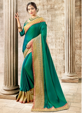Satin Silk Green Embroidered Designer Traditional Saree