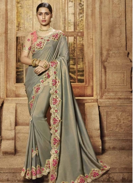 Satin Silk Grey and Salmon Embroidered Work Trendy Classic Saree