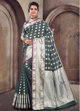 Satin Silk Grey Designer Traditional Saree