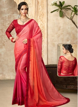 Satin Silk Hot Pink and Orange Embroidered Work Designer Contemporary Style Saree