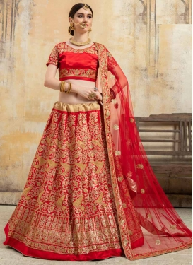 Satin Silk Lace Work A Line Lehenga Choli