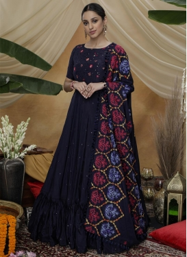 Satin Silk Long Length Anarkali Salwar Suit