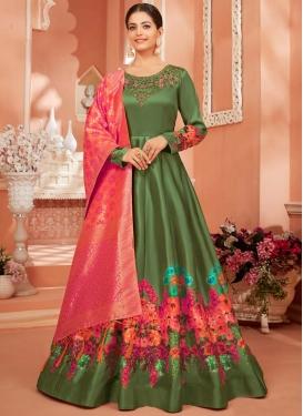 Satin Silk Long Length Designer Anarkali Suit
