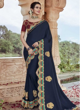 Satin Silk Maroon and Navy Blue Booti Work Designer Traditional Saree