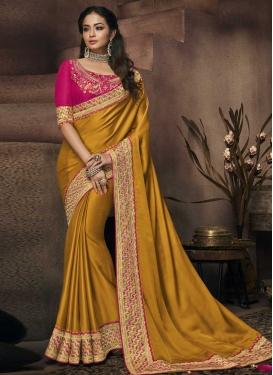 Satin Silk Mustard and Rose Pink Designer Traditional Saree