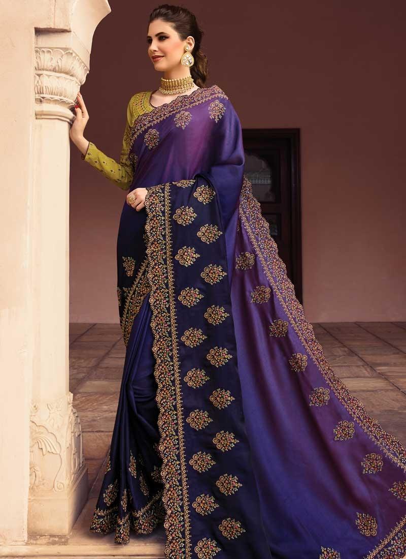 Satin Silk Navy Blue and Purple Trendy Saree For Bridal