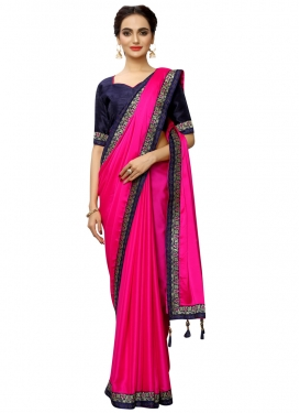 Satin Silk Navy Blue and Rose Pink Traditional Designer Saree