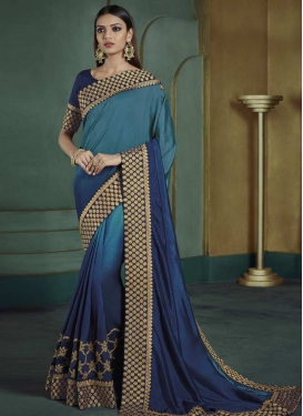 Satin Silk Navy Blue and Teal Trendy Classic Saree