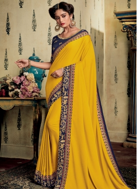 Satin Silk Navy Blue and Yellow Traditional Designer Saree For Ceremonial