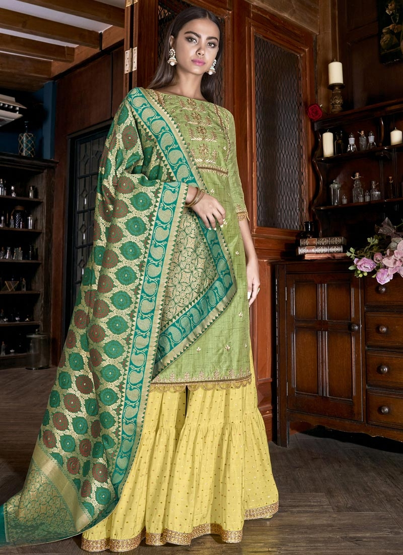 Satin Silk Olive and Yellow Sharara Salwar Kameez