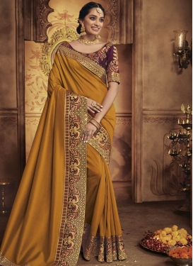Satin Silk Orange and Purple Contemporary Saree For Ceremonial