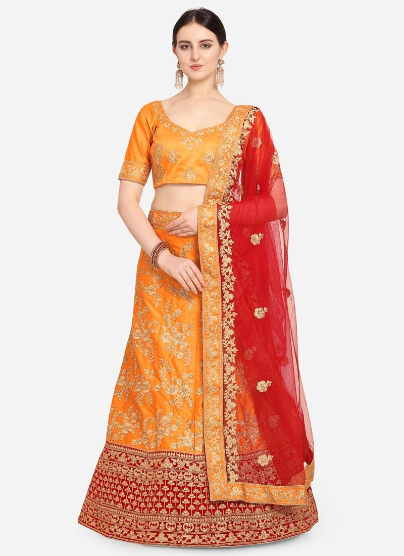 Satin Silk Orange and Red Embroidered Work A - Line Lehenga