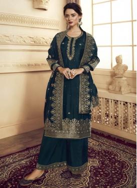Satin Silk Palazzo Style Pakistani Salwar Kameez