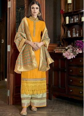 Satin Silk Palazzo Style Pakistani Salwar Kameez For Festival