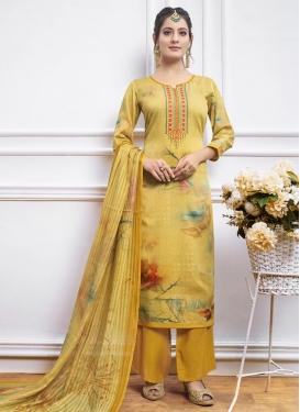 Satin Silk Palazzo Style Pakistani Salwar Suit