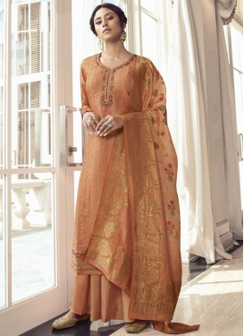 Satin Silk Palazzo Style Pakistani Salwar Suit For Ceremonial