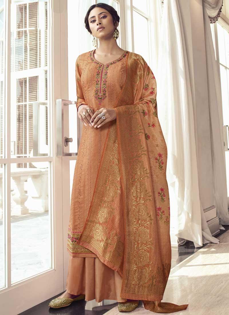 Satin Silk Palazzo Style Pakistani Salwar Suit For Ceremonial