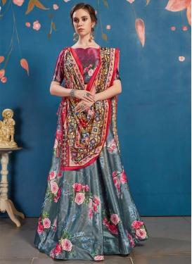 Satin Silk Print Work Trendy A Line Lehenga Choli