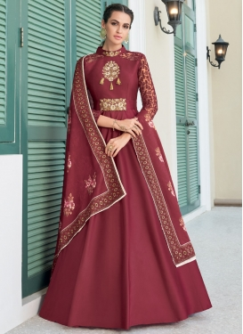 Satin Silk Readymade Designer Suit For Festival
