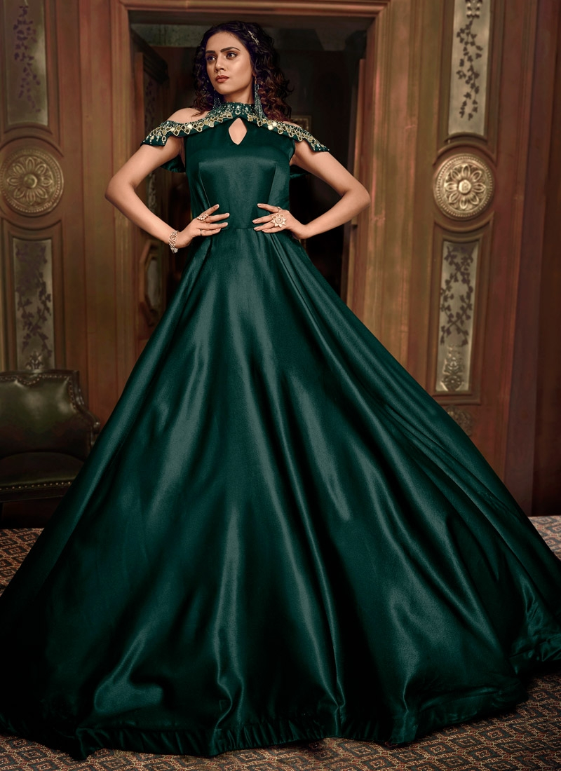 Satin Silk Readymade Layered Gown