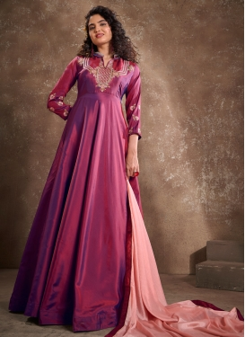 Satin Silk Readymade Long Length Gown For Ceremonial