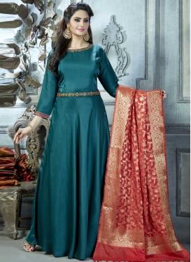 Satin Silk Readymade Long Length Suit