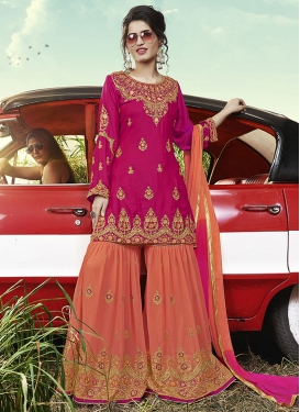 Satin Silk Sharara Salwar Kameez For Festival