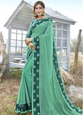 Satin Silk Teal and Turquoise Embroidered Work Traditional Designer Saree