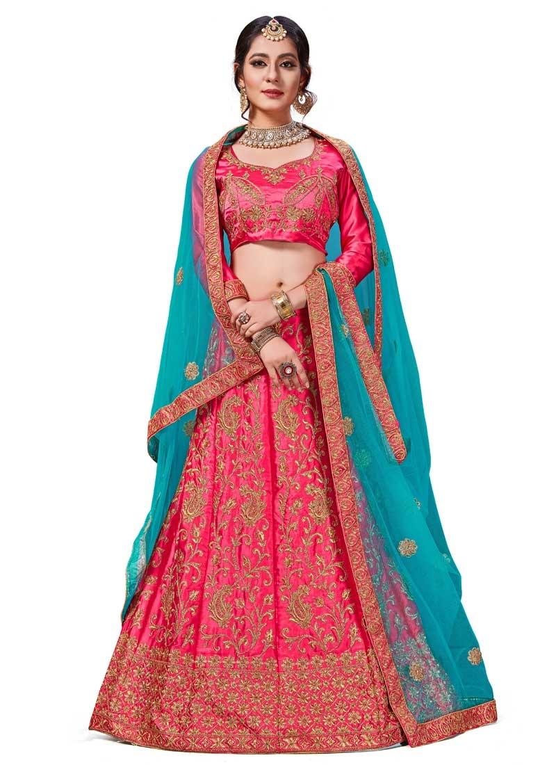 Satin Silk Trendy A Line Lehenga Choli