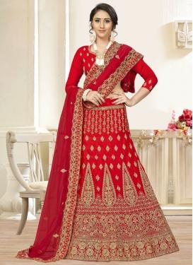 Satin Silk Trendy A Line Lehenga Choli For Ceremonial
