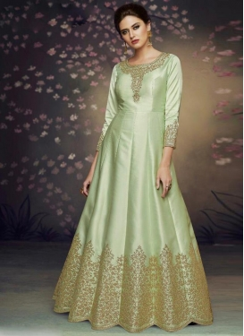 Satin Silk Trendy Anarkali Salwar Kameez