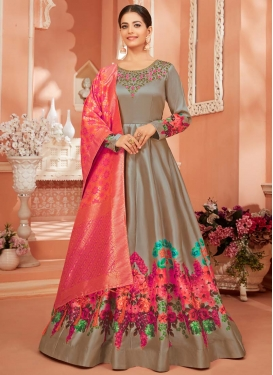 Satin Silk Trendy Anarkali Salwar Kameez