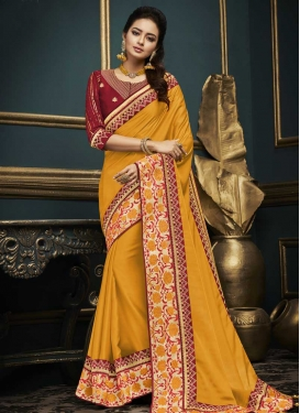 Satin Silk Trendy Saree For Festival
