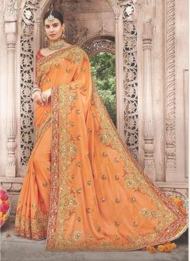 Satin Silk Trendy Saree in Orange