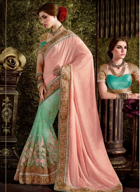 Savory Beads Work  Half N Half Trendy Saree For Festival