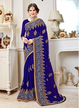 Savory Blue Embroidered Faux Georgette Classic Designer Saree
