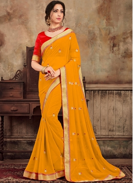 Savory Embroidered Faux Chiffon Traditional Saree