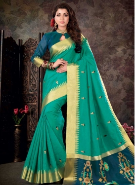 Sea Green and Teal Art Silk Designer Contemporary Saree