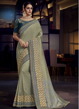Sea Green and Teal Embroidered Work Classic Saree