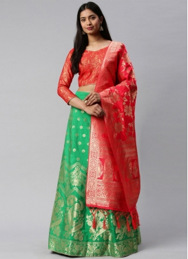 Sea Green and Tomato A Line Lehenga Choli