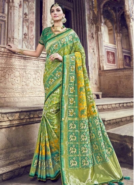 Sea Green and Yellow Contemporary Saree For Festival