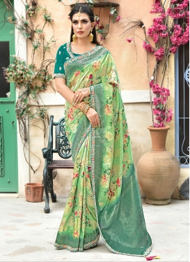 Sea Green Art Silk Bridal Traditional Designer Saree
