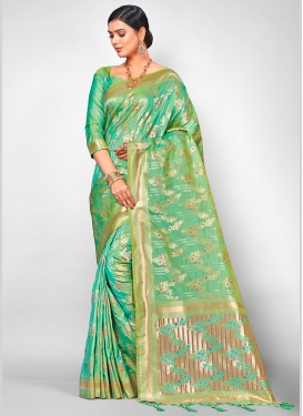 Turquoice Bridal Jacquard Silk Traditional Designer Saree