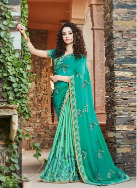 Sea Green Color Half N Half Designer Saree