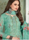Turquoise Muslin Pant Style Suit - 1
